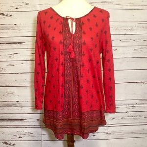 Lucky Brand Red Long Sleeved Boho Blouse NWT